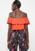 c(inch) - Frill detail bardot top - orange