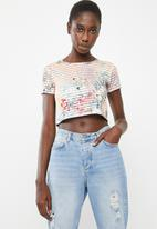 c(inch) - Tropical cropped T-shirt - multi