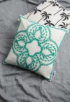 Sixth Floor - Juniper cushion cover - teal & white