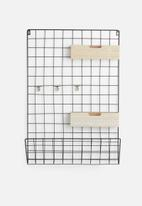 Present Time - Grid memo rack - black & wood baskets
