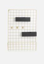 Present Time - Grid memo rack - gold & black wood