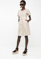 edit - Linen blend button down dress - beige
