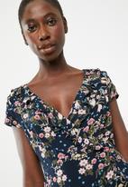 Revenge - Wrap over cap sleeve floral dress - multi