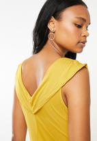 G Couture - Gathered shoulder overlay tunic - yellow