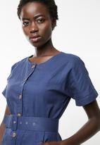 edit - Linen blend button down dress - navy
