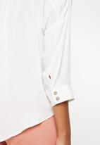 G Couture - Button down shirt with hem tie - white