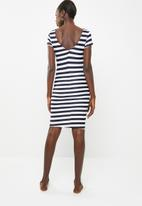 c(inch) - Fitted bodycon dress - navy and white