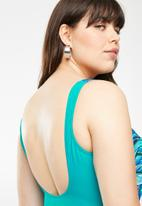 Jacqueline Plus - Jade geometric side sash one piece swimsuit - blue