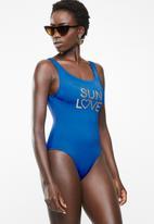 Sun Love - Slogan one piece - blue