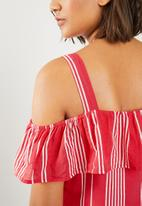 ONLY - Petra strappy dress - red & white