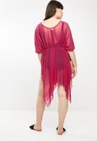 Sun Love - Longer length kimono dress - red