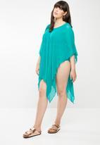 Sun Love - Plus Longer length kimono dress - turquoise