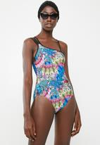 Sun Love - Feather one shoulder one piece - multi-colour