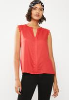 ONLY - Kimmi capped sleeve top - red