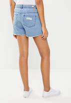 ONLY - Pacy raw edge shorts - mid blue