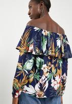 Superbalist - Frilled off the shoulder blouse - navy