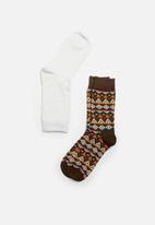 STYLE REPUBLIC - 2 Pack plain & print mid calf socks - brown & white