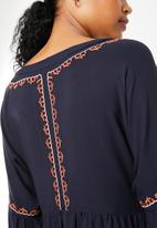 STYLE REPUBLIC - Embroided mini dress - navy
