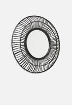 Sixth Floor - Bamboo round mirror - black