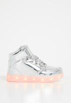 POP CANDY - High top light up  sneaker - silver