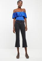 ONLY - Frill shoulder bodysuit - blue