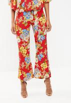STYLE REPUBLIC - Highwaisted satin smart pants - red