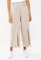 STYLE REPUBLIC - Wide leg paperbag pants  - beige