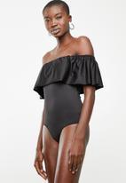ONLY - Frill shoulder bodysuit - black