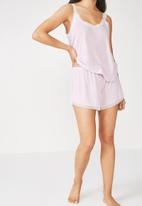 Cotton On - Rib lace short - lilac