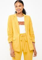 STYLE REPUBLIC - Ruched sleeve soft blazer - yellow