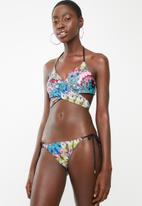 Sun Love - Feather ruched bikini bottoms - black, green & blue