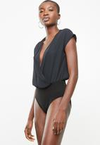 Superbalist - Soft wrap twofer bodysuit - black
