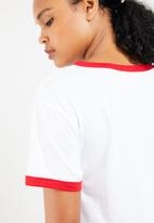 Superbalist - Ringer tee with embroidery - white with red contrast