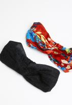 STYLE REPUBLIC - Floral and shimmer lurex headband twinpack - multi
