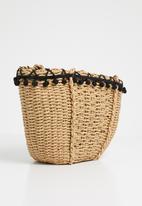 BLACKCHERRY - Pom-pom mini shoulder bag - neutral