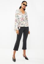 Superbalist - Bell sleeve wrap blouse - black floral