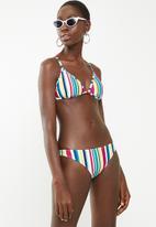 Sun Love - Candy stripe strappy bikini top - blue, pink & yellow