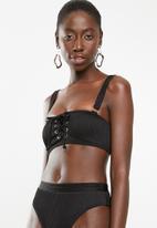 South Beach  - Ribbed bandeau lace up detail bikini top - black