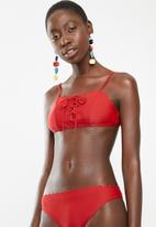 South Beach  - Bikini top scallop edge  - red