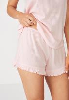Cotton On - Rib frill short -  pink