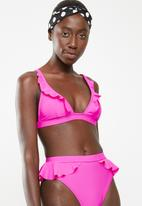 South Beach  - Triangle bikini top with frill detail - pink