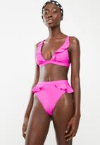 South Beach  - High legged bikini bottom with frill detail - pink