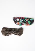 STYLE REPUBLIC - Tropical and plisse headband twinpack - multi