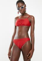 South Beach  - Bikini bottom scallop edge - red