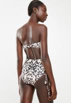 South Beach  - Ruched edge  bikini bottom - black & pink