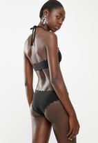 South Beach  - Scalloped edge bikini brief bottom - black