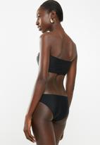 South Beach  - Bandeau bikini bottom with gold eyelet - black