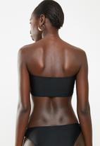 South Beach  - Bandeau bikini top with gold eyelet - black