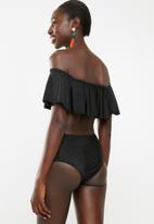 Lithe - Frill bardot bikini set - black