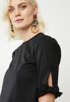 Superbalist - Tie sleeve blouse - black
